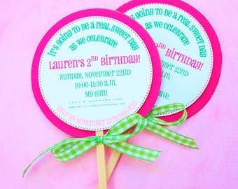 Candy Land Lollipop Invitations - Mary Had a Little Party
