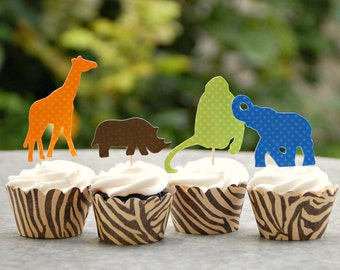 The Vintage Safari Collection - (36) Custom Cupcake Toppers and Their Wraps from Mary Had a Little Party