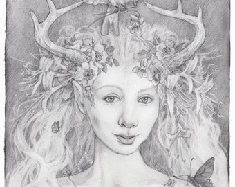 Honeysuckle Faun, Greeting Card by Renae Taylor