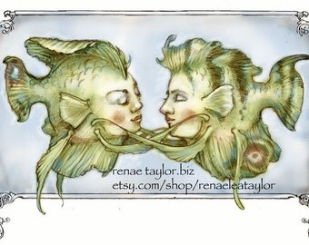 Snuggle Fish, Greeting Card by Renae Taylor