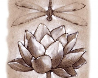 Dragonfly and Lotus, Greeting Card by Renae Taylor