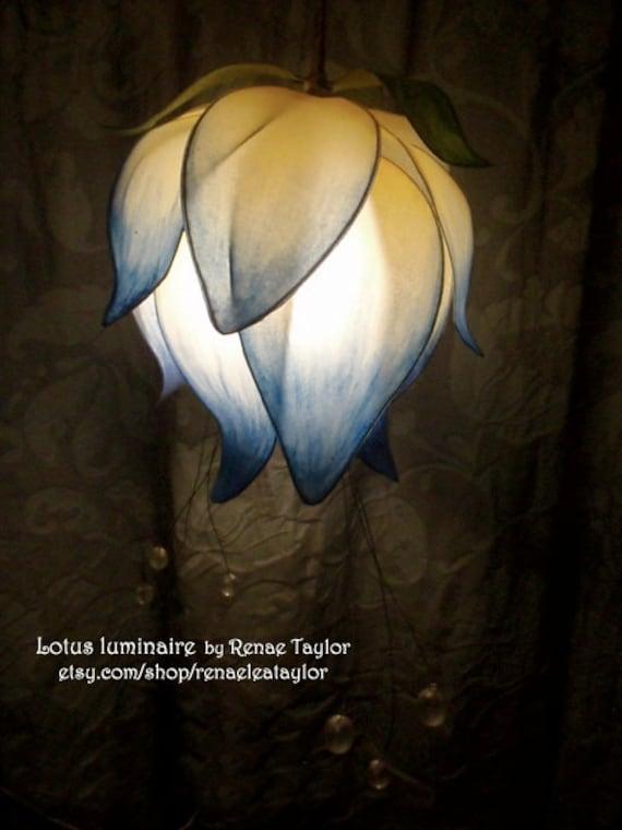 Light Blue Standard Lotus Luminaire (Lamp) by Renae Taylor
