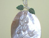 Green Leaves and Pearl 2 in 1 Necklace MARKED DOWN SALE
