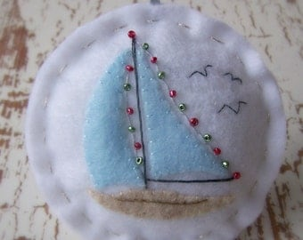 A Holiday Sail - Felt Sailboat Christmas Ornament