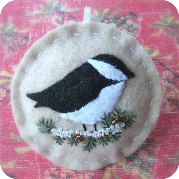 READY to ship - The Tiny Garden Chickadee - Felt Christmas Ornament