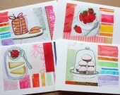 Pink Cupcakes, Raspberries and Lemon Pie : Art Card Set