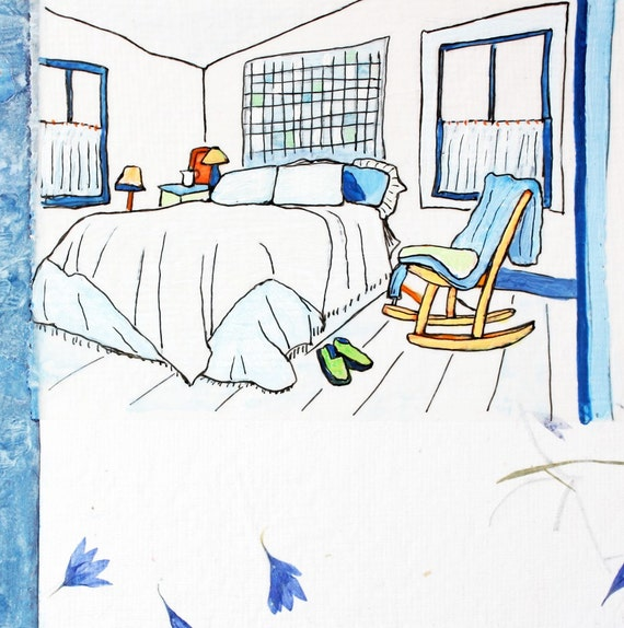 Cornflower Blue Bedroom - Original Collage