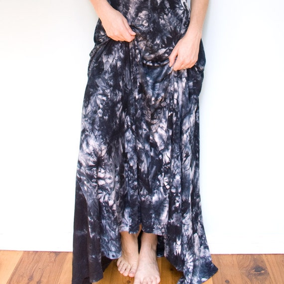 Tie Dyed Full Length Dress - Royal Blue with Red Buttons