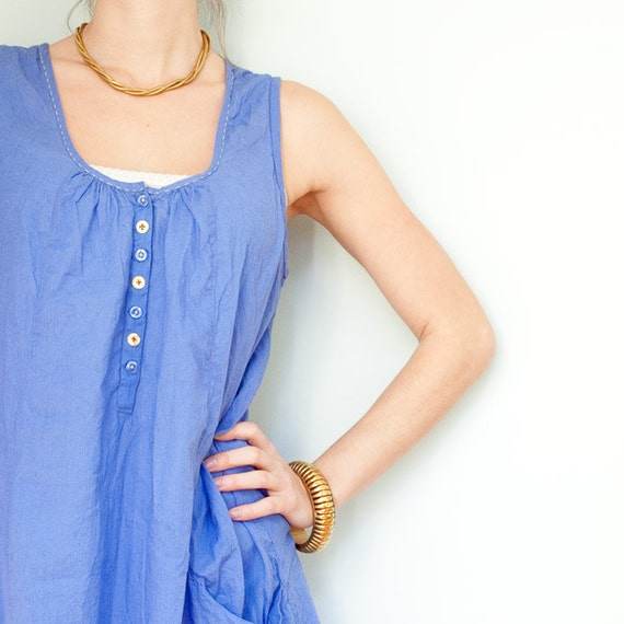 Blue Summer Dress with Yellow Buttons & Embroidery