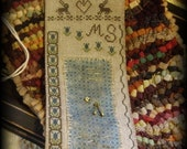 Primitive Cross Stitch Pattern Blue Tulip and Bunny Sewie Roll