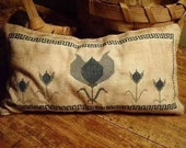 Primitive Cross Stitch Pattern Blue Tulip Long Pinkeep Sampler