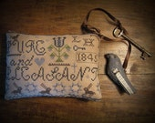 Pure and Pleasant Primitive Cross Stitch Pattern pinkeep pillow tuck