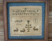 Primitive Cross Stitch Pattern Prim Bunny Sampler