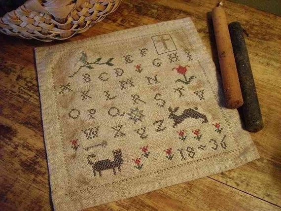 Primitive Cross Stitch Pattern 1836 Spring Tyme Sampler PDF ePattern Instant Download