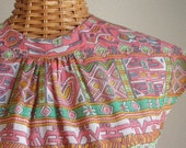 Vintage Pink Pattern Cute Dress with Matching Belt