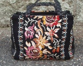 Carpet Tapestry Black Floral Bag