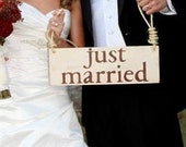 Handpainted Wooden Just Married Sign for Flowergirl, Ring Bearer, Great Photo Prop, Photographer, Choice of one or two handles,