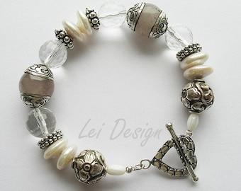 Roze Quartz Nepalese beads bracelet COUPONCODE 40% OFF