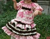 2pc Custom Boutique Pink and Brown Taffeta Skirt Set