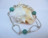 Sterling Silver Triangle Petal Chain Link Bracelet with Green Turquoise Gem