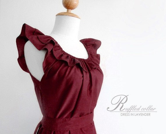 4 bridesmaid dresses for moriahlebrun - Custom fully lined  ruffled collar dress w/ sash in maroon