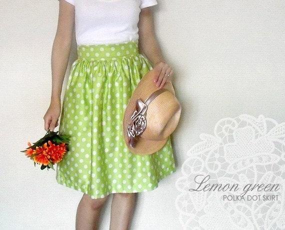 Custom lemon green polka dot skirt with pockets