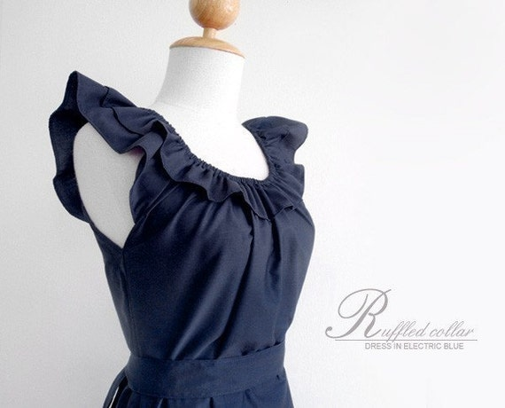 Custom fully lined ruffled collar dress w/ sash, pockets in navy