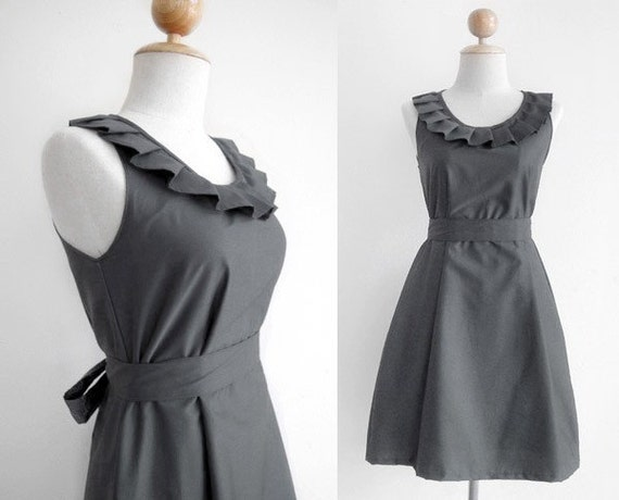 8 dresses for betsaboo - Custom fully lined pleated collar dress in grey