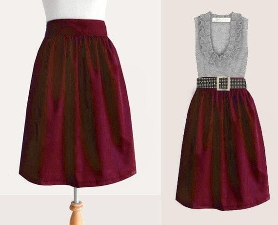 Custom cotton skirt with pockets in maroon