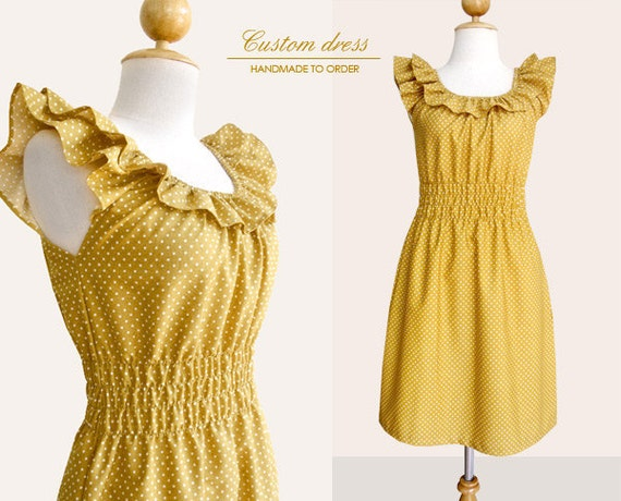 Custom ruffled collar dress WITHOUT pockets in mustard yellow