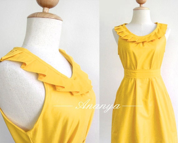 8 dresses for cjw3y - Custom fully lined pleated collar dress in yellow