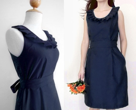 5 dresses for annettesbuys - Custom fully lined pleated collar dress in navy