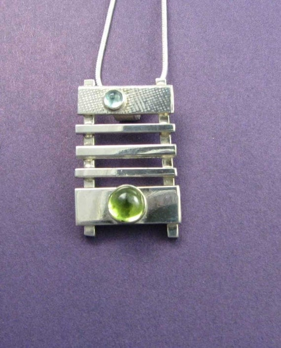 Ladder double Stone Sterling Silver Pendant