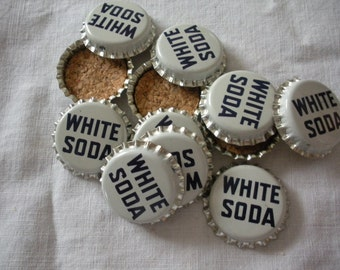 Set of  10 Vintage White Soda Pop Bottle Tops Unused Cork Backs