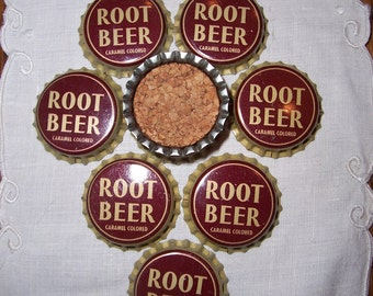 Set of 10 Vintage Root Beer Bottle Caps Pop Tops