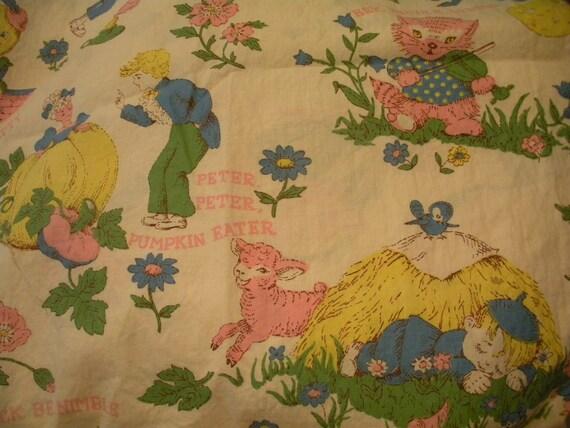Vintage nursery rhyme fabric panel for Retro nursery fabric