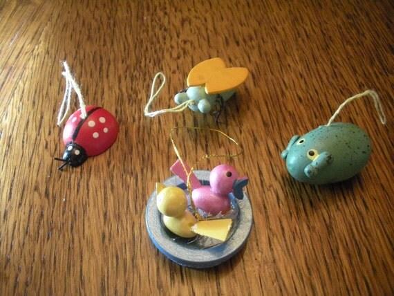 Set of 4 Wooden Miniatures Lady Bug Plus