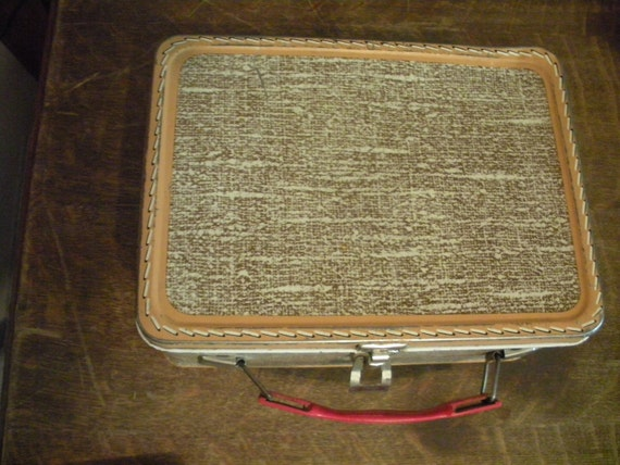 Vintage 1950's Tan Tweed Mock Luggage Thermos Lunchbox