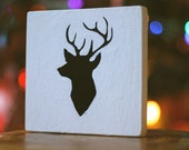 black and white deer silhouette wood block key hanger