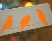 orange birds on a wire key hook wood block gold hooks