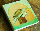 sea turtle image transfer art wood block sun-stump-wood post-ocean-nautical-mask