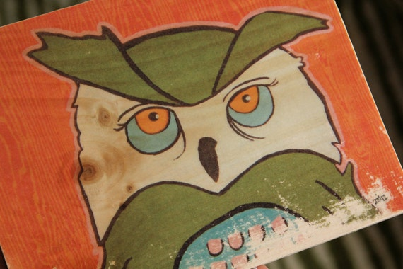 owl with orange faux bois rustic image transfer nursery art print on wood