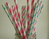 Bubble gum Pink and White striped paper straws with aqua polka dot and white mix 25 retro cute