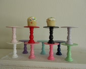 Set of 6 Mini wooden cupcake stands pedestals or cake pop stands you choose colors ECS