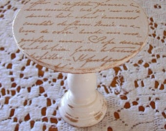 Shabby French Chic little mini wooden cupcake stand with French Script distressed