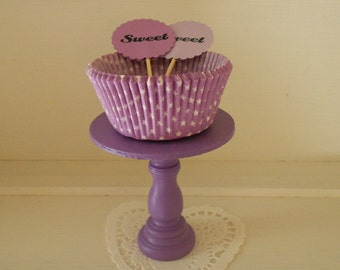 Purple mini wood cupcake stand or cake pop stand so sweet