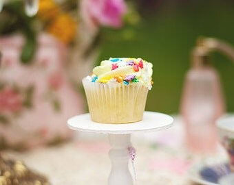 White mini wood  cupcake stand  or cake pop stand so sweet