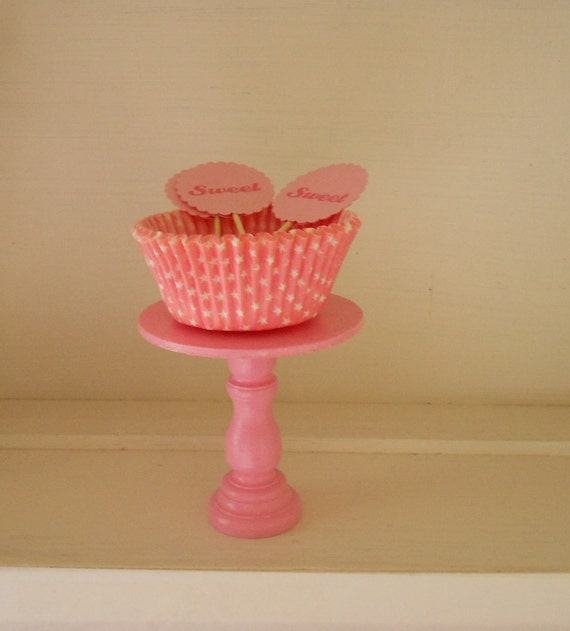 Shabby Bubblegum Pink Chic mini wooden cupcake stand or cake pop stand so sweet