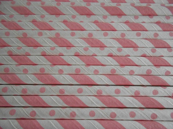 Pink and White striped paper straws with small pink polka dot and white mix 25 retro cute