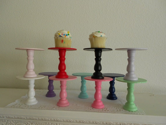 Set of 3 Mini wood cupcake stands pedestals or cake pop stands you choose colors ECS